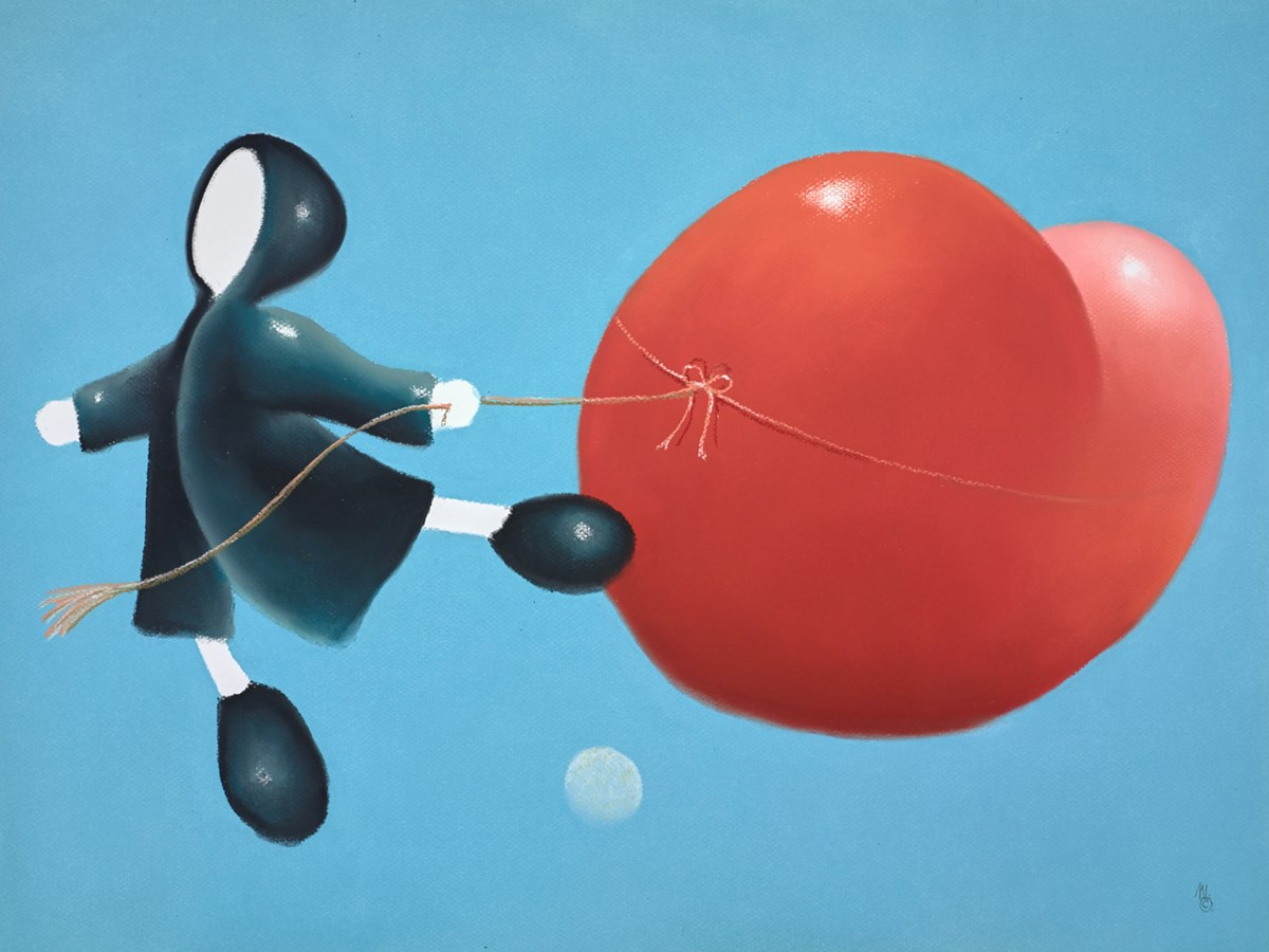 Fly Over the Moon by mackenzie thorpe -  sized 30x34 inches. Available from Whitewall Galleries